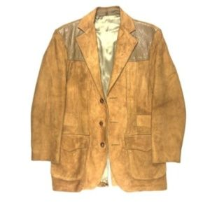 Mens Hunting Leather 38 RARE Suede Jacket Coat 70s